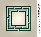 square vector maze. | Shutterstock .eps vector #592736195