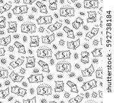 money rain vector seamless... | Shutterstock .eps vector #592738184