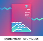 fluid gradients abstract poster ... | Shutterstock .eps vector #592742255