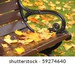 Park Grunge Bench In Autumn...