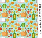 jewish holiday passover... | Shutterstock .eps vector #592762184