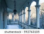 old home porch with railings ... | Shutterstock . vector #592763105