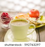 coffee in cup and snacks with... | Shutterstock . vector #592763297