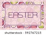 easter. card with frame on a... | Shutterstock .eps vector #592767215