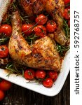 roast chicken quarter with the... | Shutterstock . vector #592768757