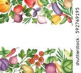 watercolor organic vegetables... | Shutterstock . vector #592769195