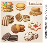 set of delicious cookies.... | Shutterstock .eps vector #592777211