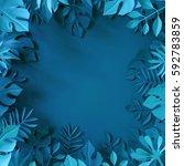 3d render  tropical paper...   Shutterstock . vector #592783859