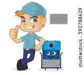 hvac technician leaning on...   Shutterstock .eps vector #592788629