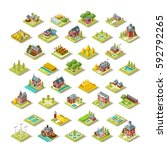 isometric farm house building... | Shutterstock .eps vector #592792265