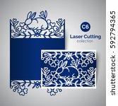 laser cut card for easter day.... | Shutterstock .eps vector #592794365