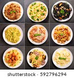 collage of various plates of... | Shutterstock . vector #592796294