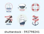 fashion nautical and marine... | Shutterstock .eps vector #592798241