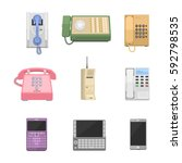 telephones vintage vector icons. | Shutterstock .eps vector #592798535