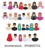 all age group of arab man... | Shutterstock .eps vector #592800731