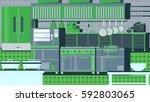 kitchen flat illustration | Shutterstock .eps vector #592803065