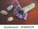 burning sage stick boho photo | Shutterstock . vector #592809239