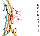 colorful music notes with... | Shutterstock .eps vector #592813055