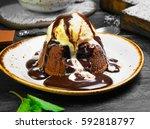 chocolate lava cake  molten ...   Shutterstock . vector #592818797
