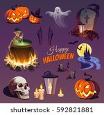 halloween elements and objects... | Shutterstock .eps vector #592821881