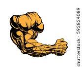 huge bodybuilders arm design... | Shutterstock .eps vector #592824089