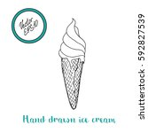 hand drawn ice cream with... | Shutterstock .eps vector #592827539