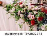wedding table decoration with... | Shutterstock . vector #592832375