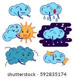clouds cartoon emoji  smiley... | Shutterstock .eps vector #592835174