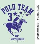 south beach miami florida polo... | Shutterstock .eps vector #592837637