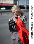 businesswoman walking on the...   Shutterstock . vector #59284954