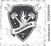 vintage car repair service logo ... | Shutterstock .eps vector #592856999