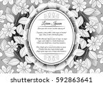 vector  mohochrome floral... | Shutterstock .eps vector #592863641