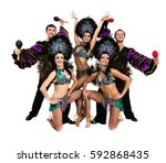 samba dancer team dancing... | Shutterstock . vector #592868435
