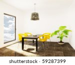 modern room with yellow... | Shutterstock . vector #59287399