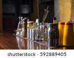 bartender tools on bar at the... | Shutterstock . vector #592889405