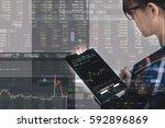 double exposure of business... | Shutterstock . vector #592896869