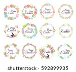 happy easter hand drawn badge... | Shutterstock .eps vector #592899935