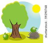 hedgehog and apple | Shutterstock .eps vector #59290768