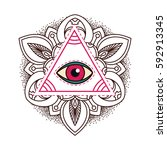 all seeing eye pyramid symbol. | Shutterstock .eps vector #592913345