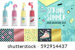 spring summer poster color... | Shutterstock .eps vector #592914437