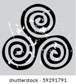 black celtic spiral on the gray ...