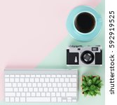 minimal flat lay with keyboard  ... | Shutterstock . vector #592919525