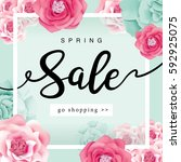 spring sale poster with... | Shutterstock .eps vector #592925075