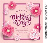 mother's day greeting card with ... | Shutterstock .eps vector #592925147