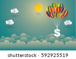 dollar sign hanging with... | Shutterstock .eps vector #592925519