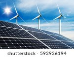 photo collage of solar panels... | Shutterstock . vector #592926194
