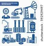 engineer and industry icon set... | Shutterstock .eps vector #592929497