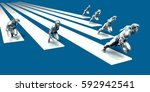 businessmen teamwork running... | Shutterstock . vector #592942541