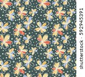 doodle seamless floral pattern. ... | Shutterstock .eps vector #592945391