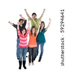group of happy people with arms ... | Shutterstock . vector #59294641